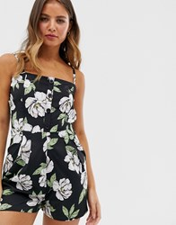 Influence Cami Strap Button Front Playsuit In Black Floral