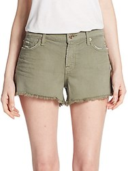 7 For All Mankind Distressed Cut Off Jean Shorts Fatigue Green