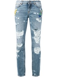 Dolce And Gabbana Distressed Boyfriend Jeans Blue