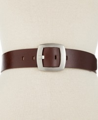 Calvin Klein Leather Pant Belt With Centerbar Buckle Brown