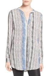 Astr Stripe Split Back Tunic Gray