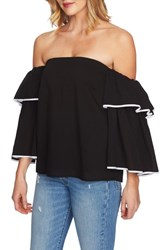 1.State Tiered Sleeve Off The Shoulder Top Rich Black