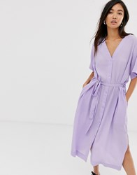 Weekday Tie Waist Midi Dress In Lilac Purple