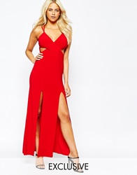 Love Cami Strap Maxi Dress With Thigh Split Red