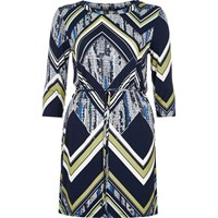 River Island Womens Black Chevron Print Belted Tunic