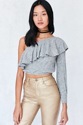Silence And Noise Ashling Ruffle One Shoulder Top Grey