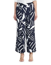 Lauren Ralph Lauren Printed Wide Legged Pants Navy