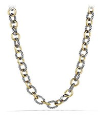 David Yurman Oval Large Link Necklace With Gold