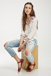 Forever 21 Embroidered Gauze Peasant Top Cream Navy