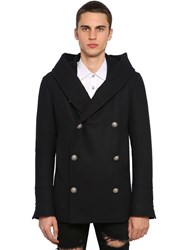 Balmain Hooded Double Breasted Wool Peacoat Black