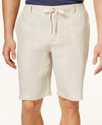 Tasso Elba Men's Linen Drawstring Shorts Only At Macy's Natural Khaki