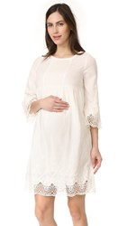 Ingrid And Isabel Lace Trim Belle Sleeve Dress Ivory