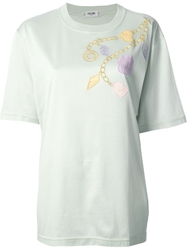 Celine Vintage Embroidered Chain T Shirt Green