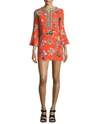 Andrew Gn 3 4 Bell Sleeve Printed Dress Orange Size 52 Fr 20 Us
