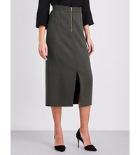 Cefinn Zip Front Pencil Skirt Khaki