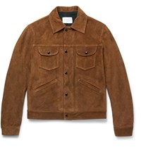 Sandro Slim Fit Suede Jacket Brown