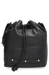 Etienne Aigner 'Large Bucket' Bag Black Black Moto Croco