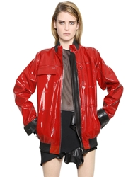 Anthony Vaccarello Nappa And Patent Leather Jacket Red