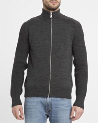 Schott Nyc Charcoal Zipped Patch Cardigan Grey