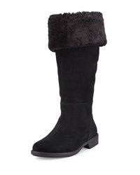 Taryn Rose Avis Mid Calf Suede Boot With Faux Shearling Black
