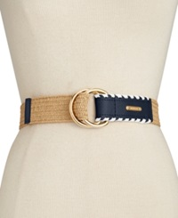 Michael Michael Kors Stretch Straw Belt Navy White