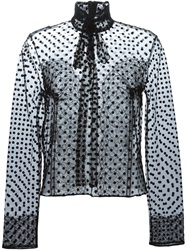 Rochas Sheer Polka Dot Blouse Black
