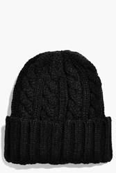 Boohoo Basic Cable Turn Up Knit Beanie Black