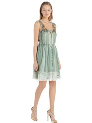 Alberta Ferretti Beads Embroidered Printed Chiffon Dress