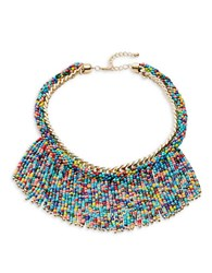 Design Lab Lord And Taylor Beaded Fringe Statement Necklace Multicolor