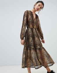 Na Kd Tiger Print Maxi Dress Brown