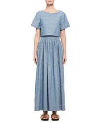 Chloe Trompe L'oeil Chambray Short Sleeve Maxi Dress Light Blue