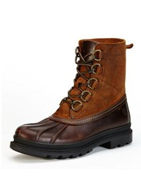 Frye Riley D Ring Lace Up Duck Boot Brown