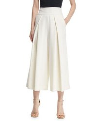 Milly Italian Cady Pleated Wide Leg Culottes White