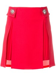 Versus Pleated Trim Studded Skirt Red