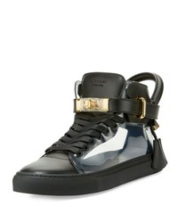 Buscemi Men's 100Mm Leather And Pvc Mid Top Sneaker Black