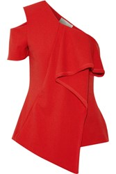 Jason Wu Asymmetric Chiffon Trimmed Crepe Top Red
