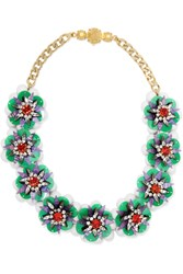 Shourouk Narcis Gold Tone Bead And Sequin Necklace Red