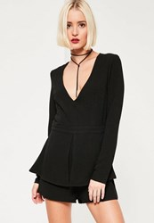 Missguided Black Long Sleeve Peplum Playsuit