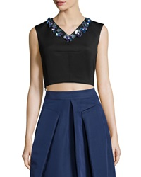 Rebecca Taylor Sleeveless Beaded V Neck Crop Top