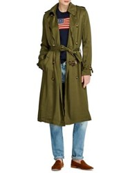 Polo Ralph Lauren Double Breasted Twill Trench Coat Green