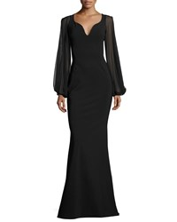 La Petite Robe Di Chiara Boni Dree Long Sleeve Butterfly Mermaid Gown Black