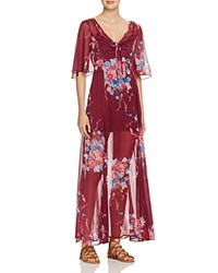 Band Of Gypsies Floral Print Maxi Dress Burgundy Teal
