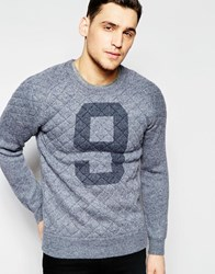 Scotch And Soda Knitted Crewneck Pull With Quilted Frontpanel And Shoulders Grey