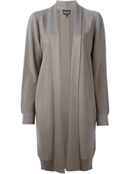 Giorgio Armani Draped Ribbed Cardigan Grey