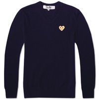 Comme Des Garcons Play Gold Heart V Neck Jumper Navy