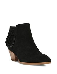 Franco Sarto Gerri Fringed Suede Ankle Boot Black