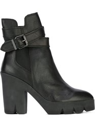 Ash Pointed Toe Ridged Rubber Sole Boots Black