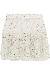 See By Chloe Ruffled Printed Chiffon Mini Skirt Off White