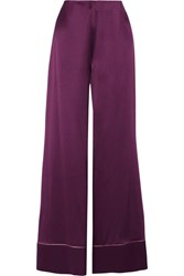 Roksanda Ilincic Oldridge Crepe Backed Silk Satin Wide Leg Pants Plum