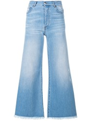 Each X Other Flared Cropped Jeans Cotton Blue